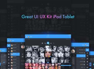完美的多功能社交iPad Ui Kits套装下载[PSD]