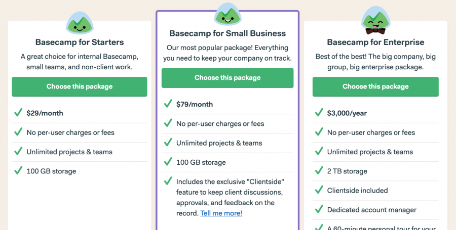 Basecamp purchase options