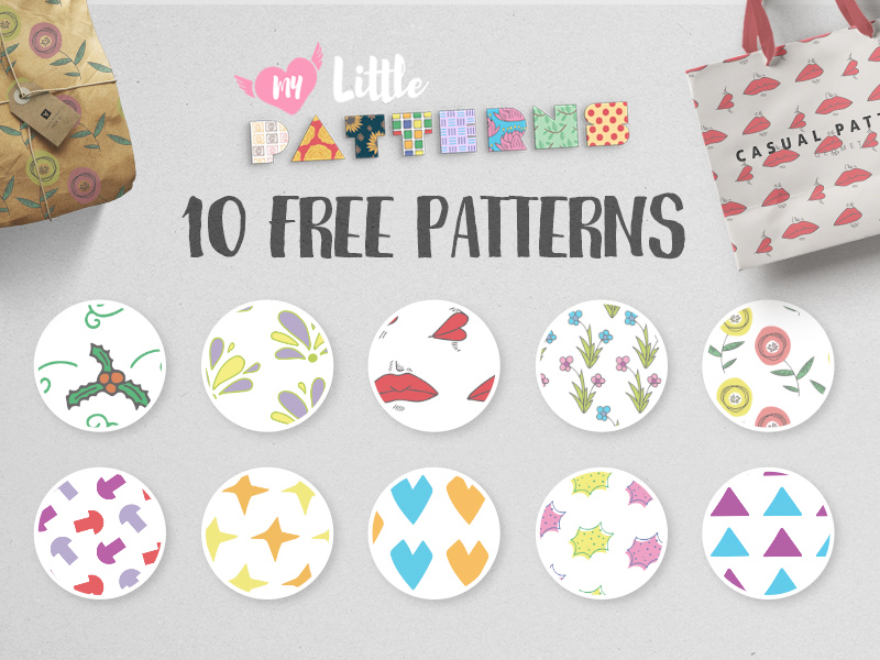 10免费几何和花卉图案 10 Free Geometric & Floral Patterns