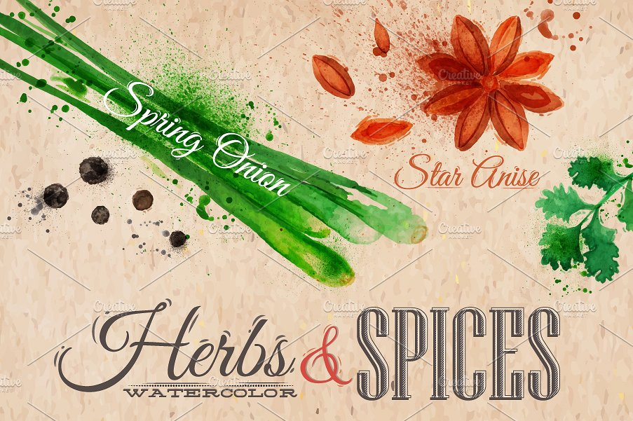 <span class='yzk_title_61163'>药草香料水彩插画 Herbs spices watercolor</span>