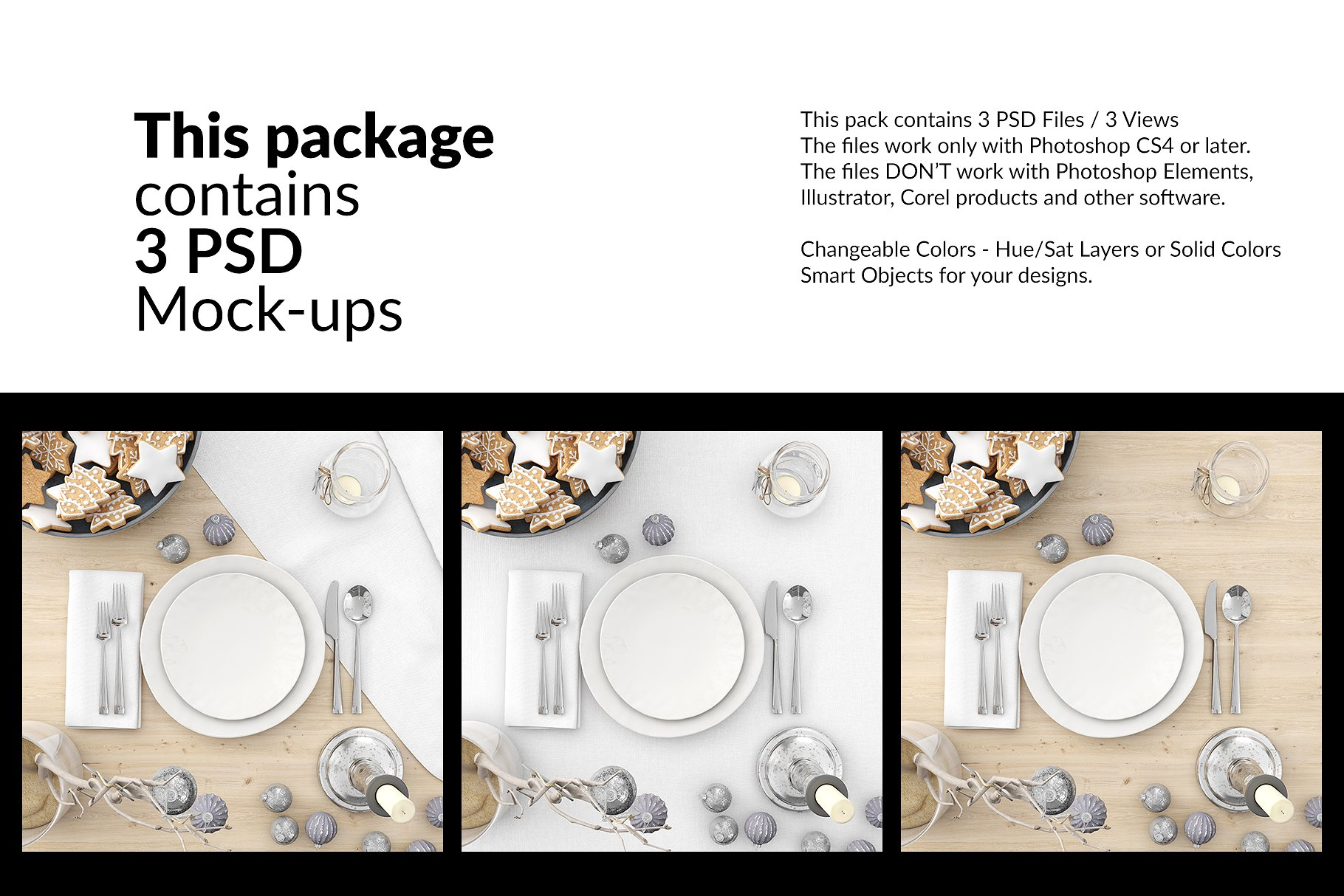 <span class='yzk_title_60958'>圣诞节餐具&桌布展示样机 Christmas Plates &Tablecloth Set [psd]</span>